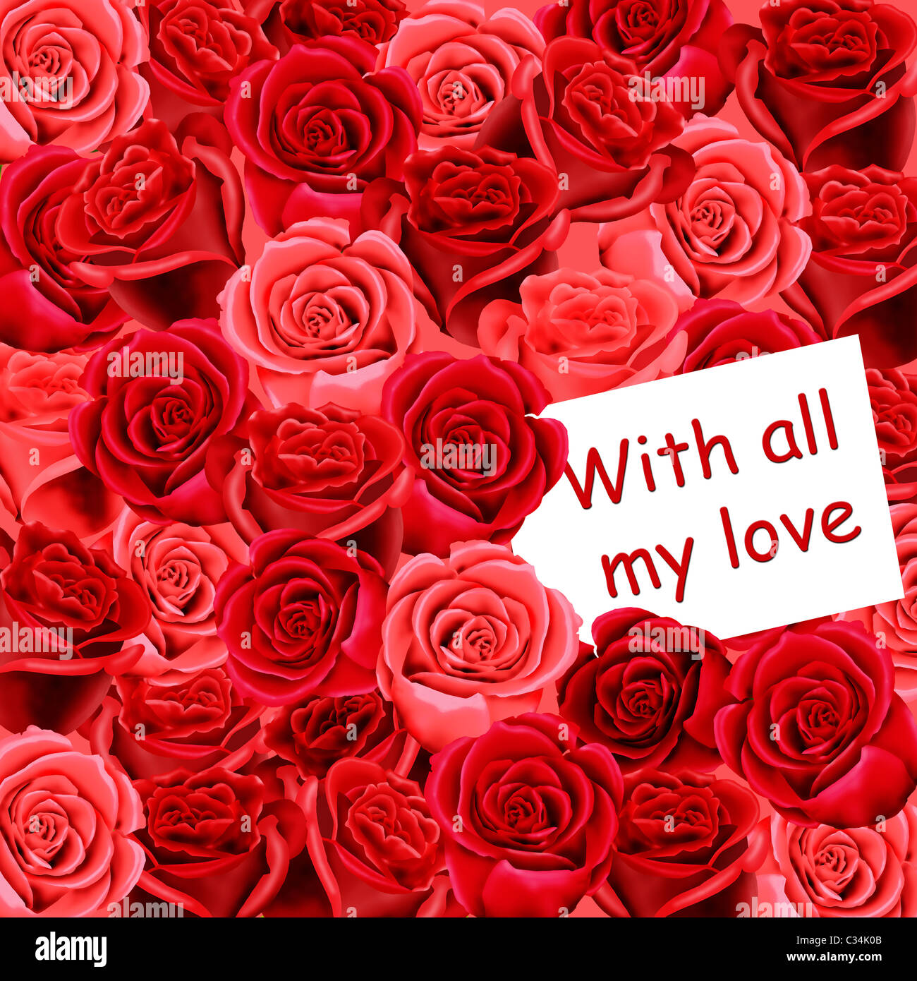 Birthday or mothers day card with roses and with all my love stock birthday or mothers day card with roses and with all my love izmirmasajfo