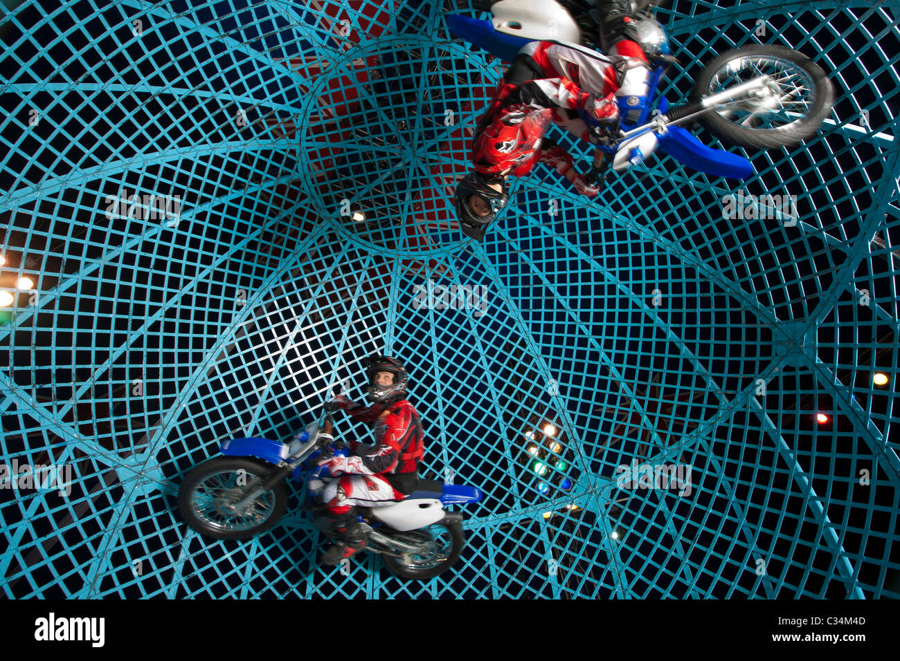 Circus Ball of Death motorcycle stunt team - Stock Image
