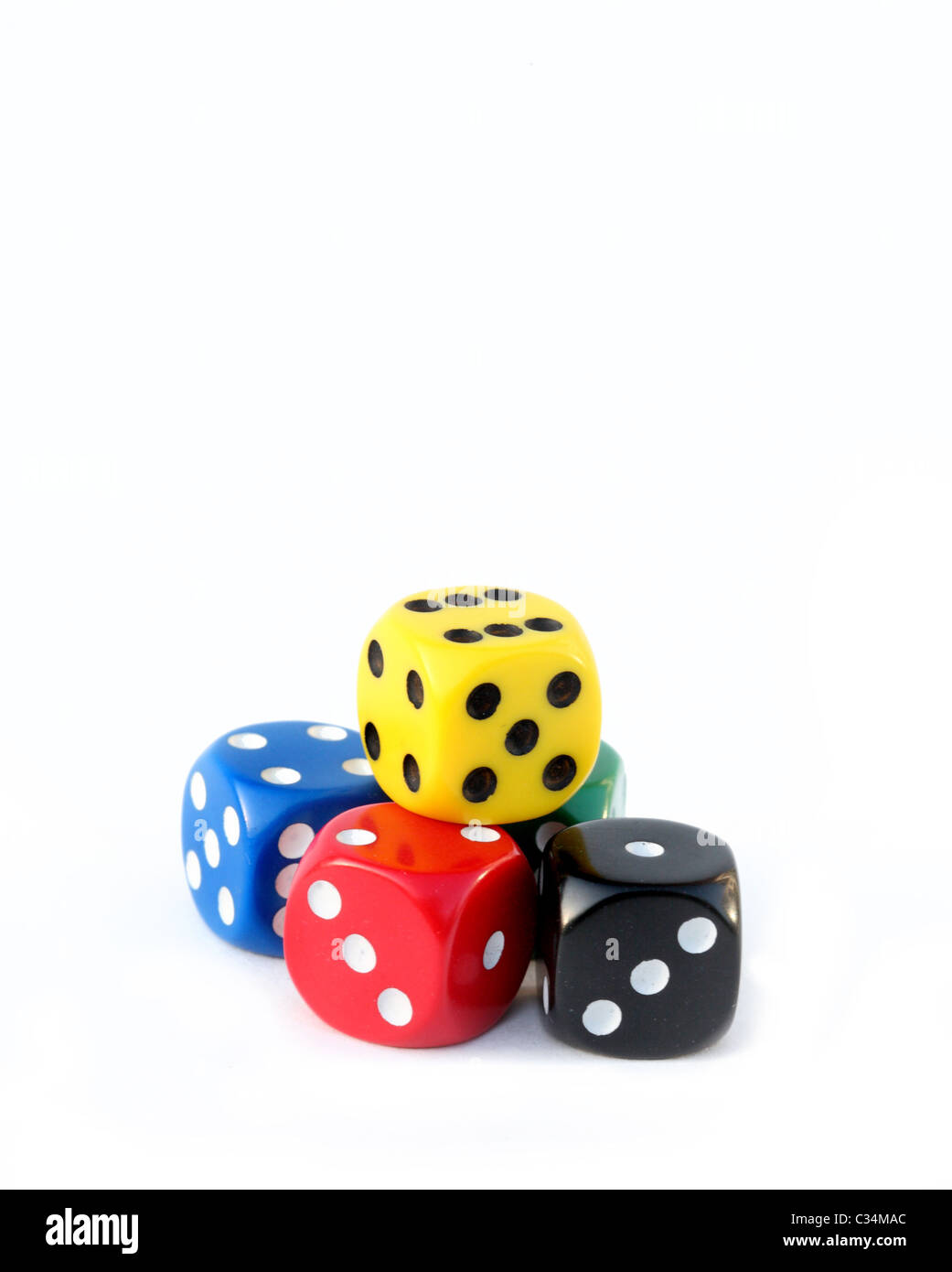 Multi colored dice - Stock Image