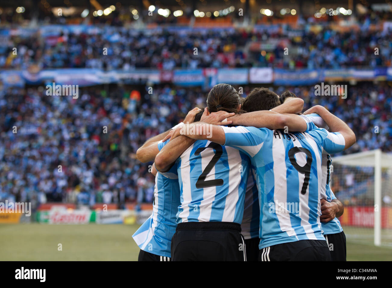 Argentina players celebrate after a goal against South Korea during a 2010 FIFA World Cup football match June 17, - Stock Image