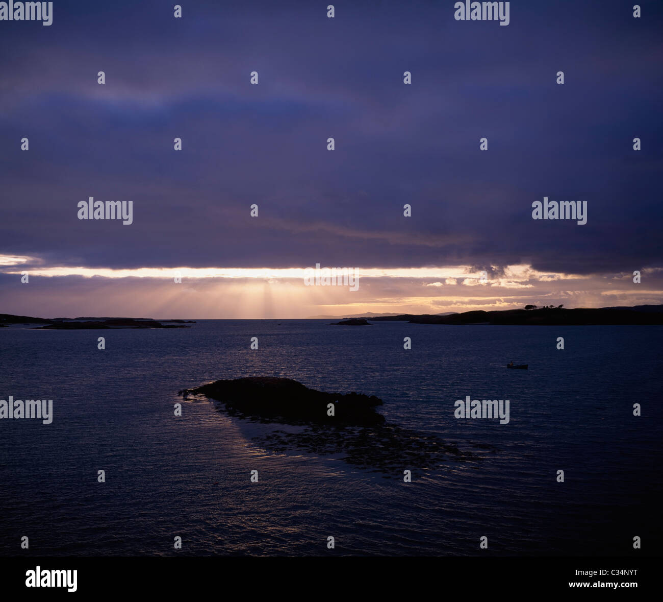 Roaring Water Bay,Hare Island Co Cork,Ireland;View Of Hare Island At Sunset - Stock Image