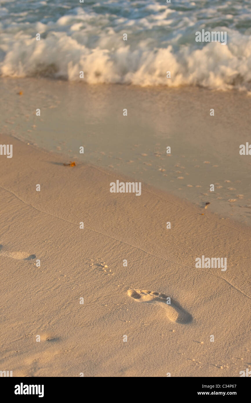 Footprint in the sand at Alys Beach in Florida, USA - Stock Image