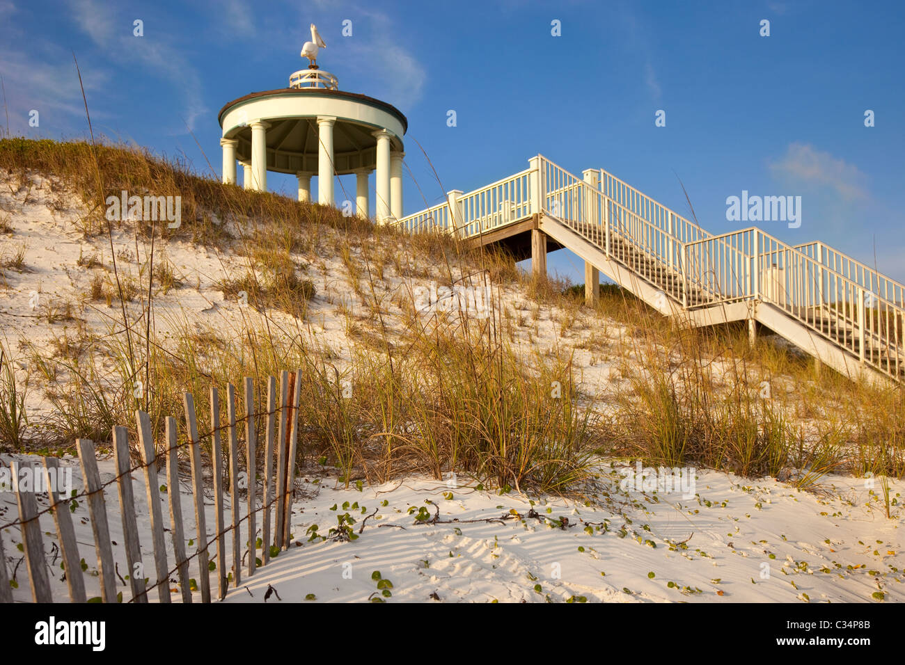 Stairs and walkway over dune leading to beach in Seaside Florida USA - Stock Image
