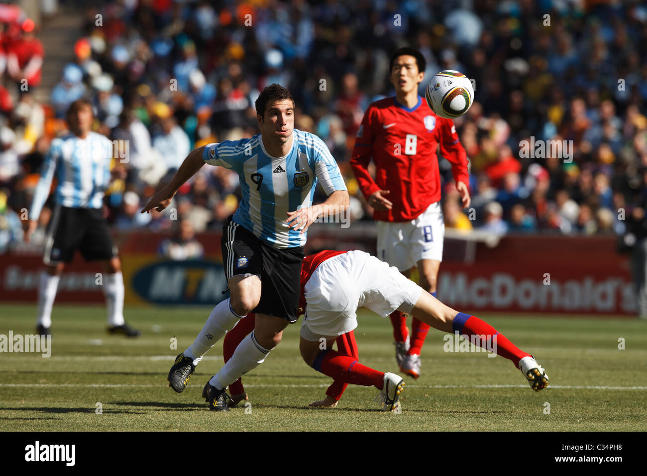 Gonzalo Higuain of Argentina chases the ball during a 2010 FIFA World Cup football match against South Korea June - Stock Image