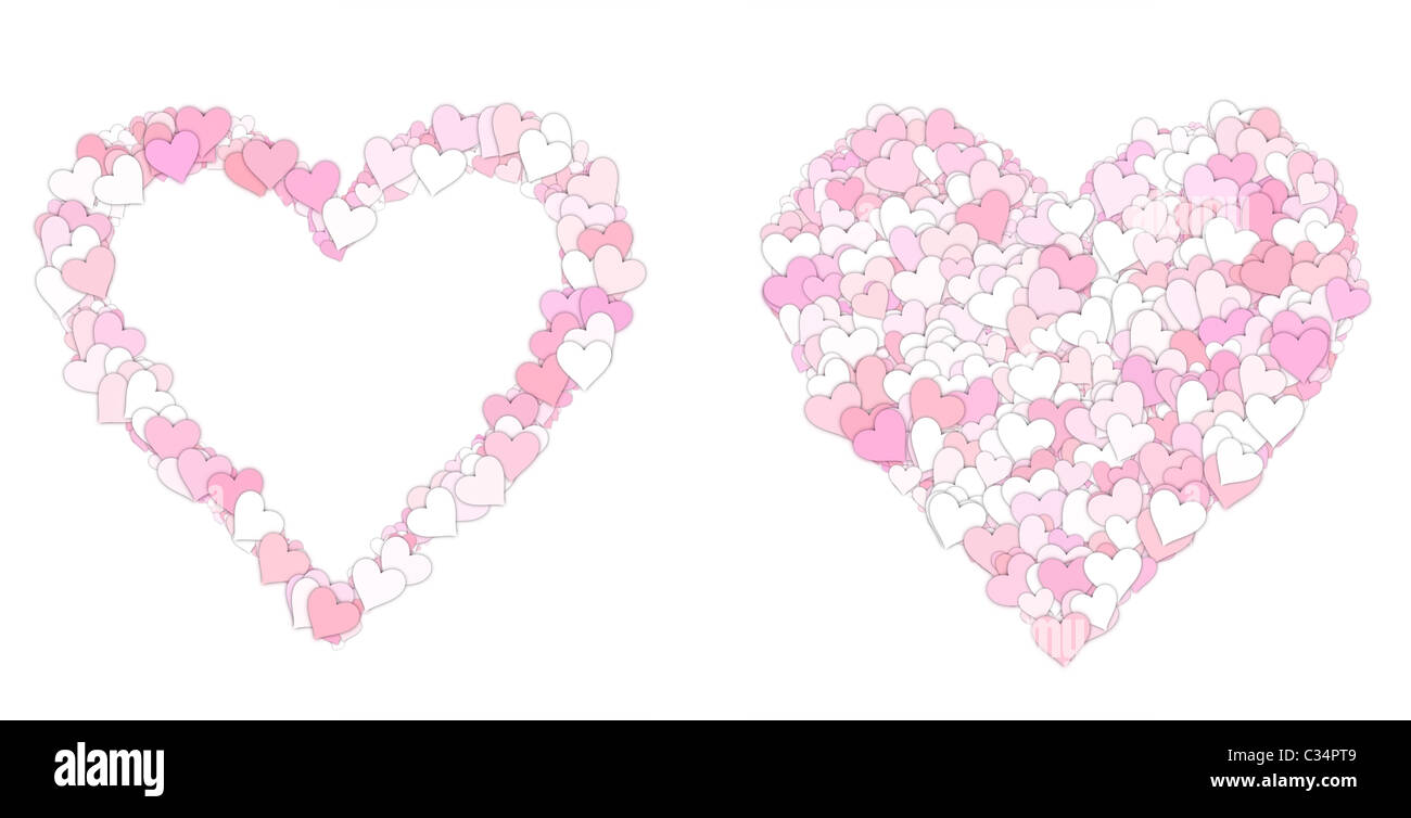 Great Illustration Of Pink And White Love Heart Symbols Stock Photo