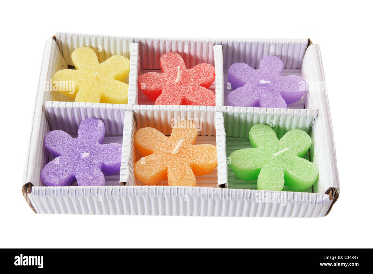 Box of Color Star-Shaped Candles - Stock Image