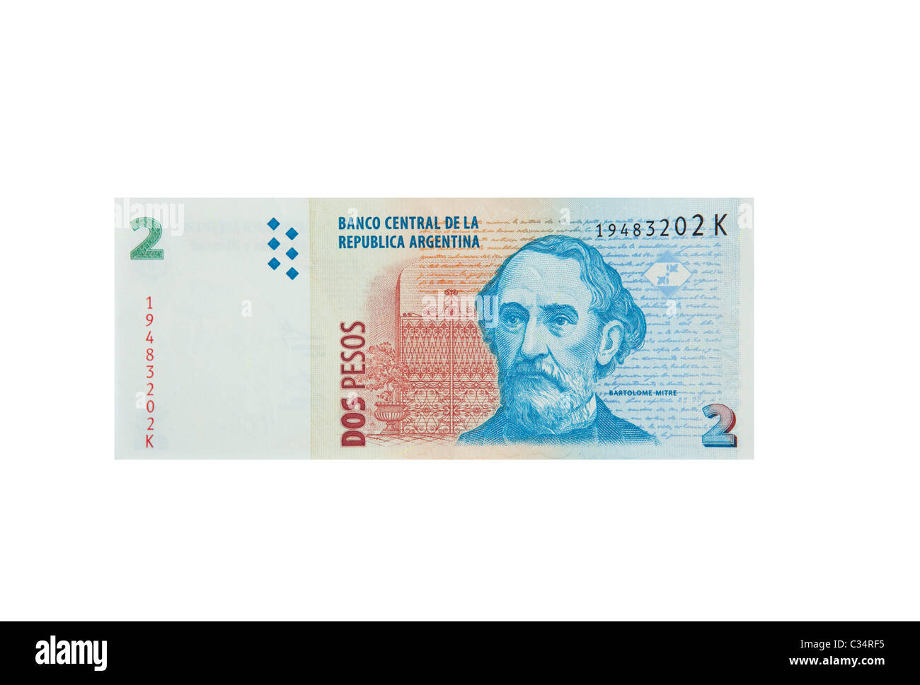 Argentinian 2 Peso note cut out - Stock Image