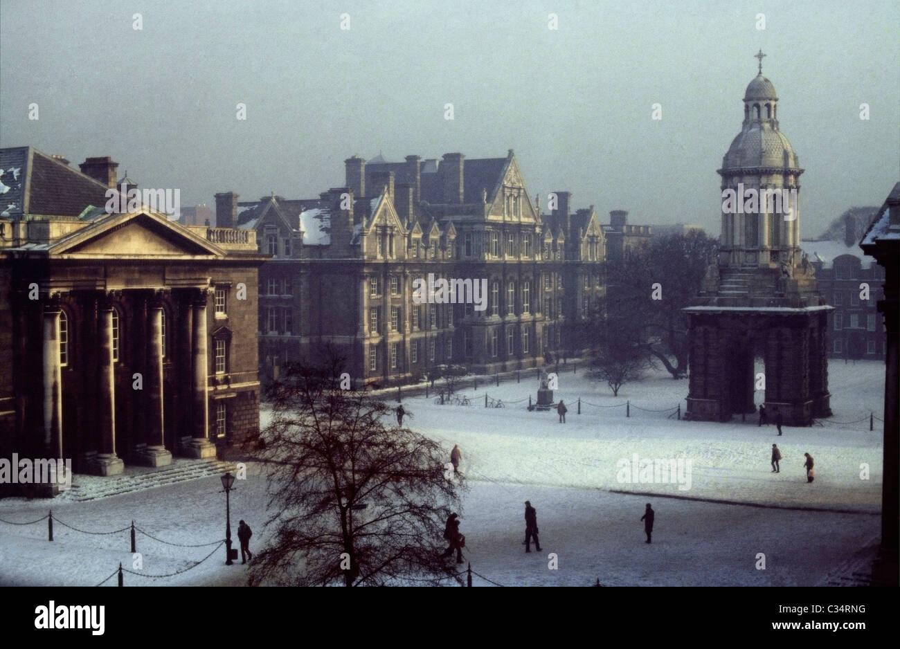 Trinity College In Winter, Dublin, County Dublin, Ireland - Stock Image