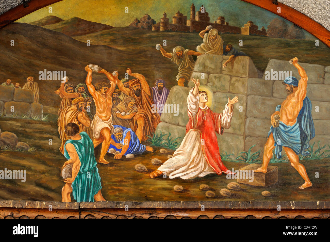 Religious painting The attempted stoning of Christ, Church Sant Esteve, Barri Antic, Andorra La Vella, Principality - Stock Image