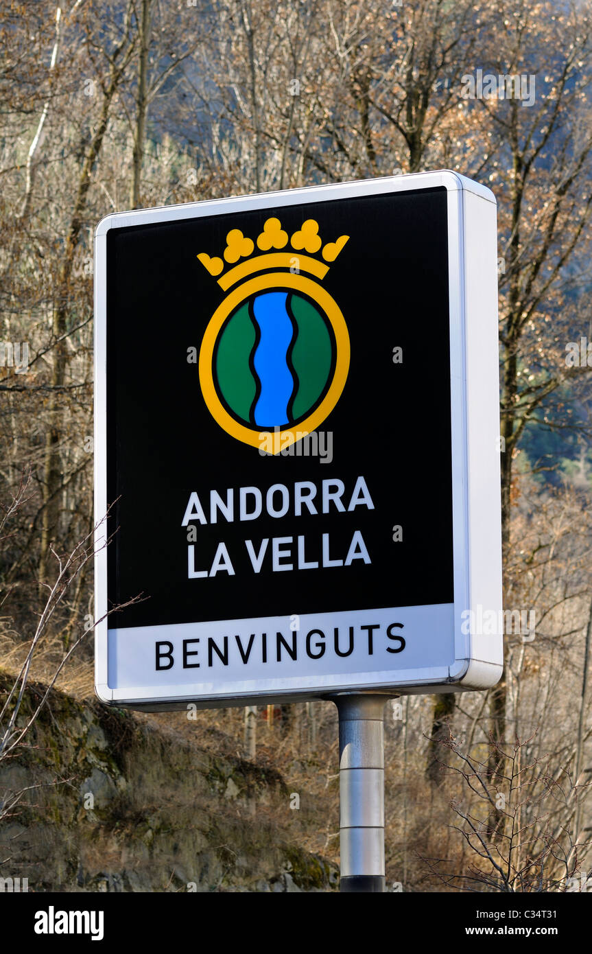 Welcome to the capital Andorra La Vella, welcome sign in Catalan at the entrance to of Andorra La Vella, Principality - Stock Image