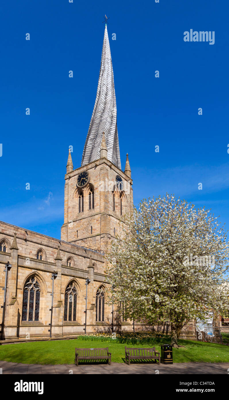 St Mary's Church Chesterfield with a famous twisted spire Derbyshire England GB UK EU Europe - Stock Image