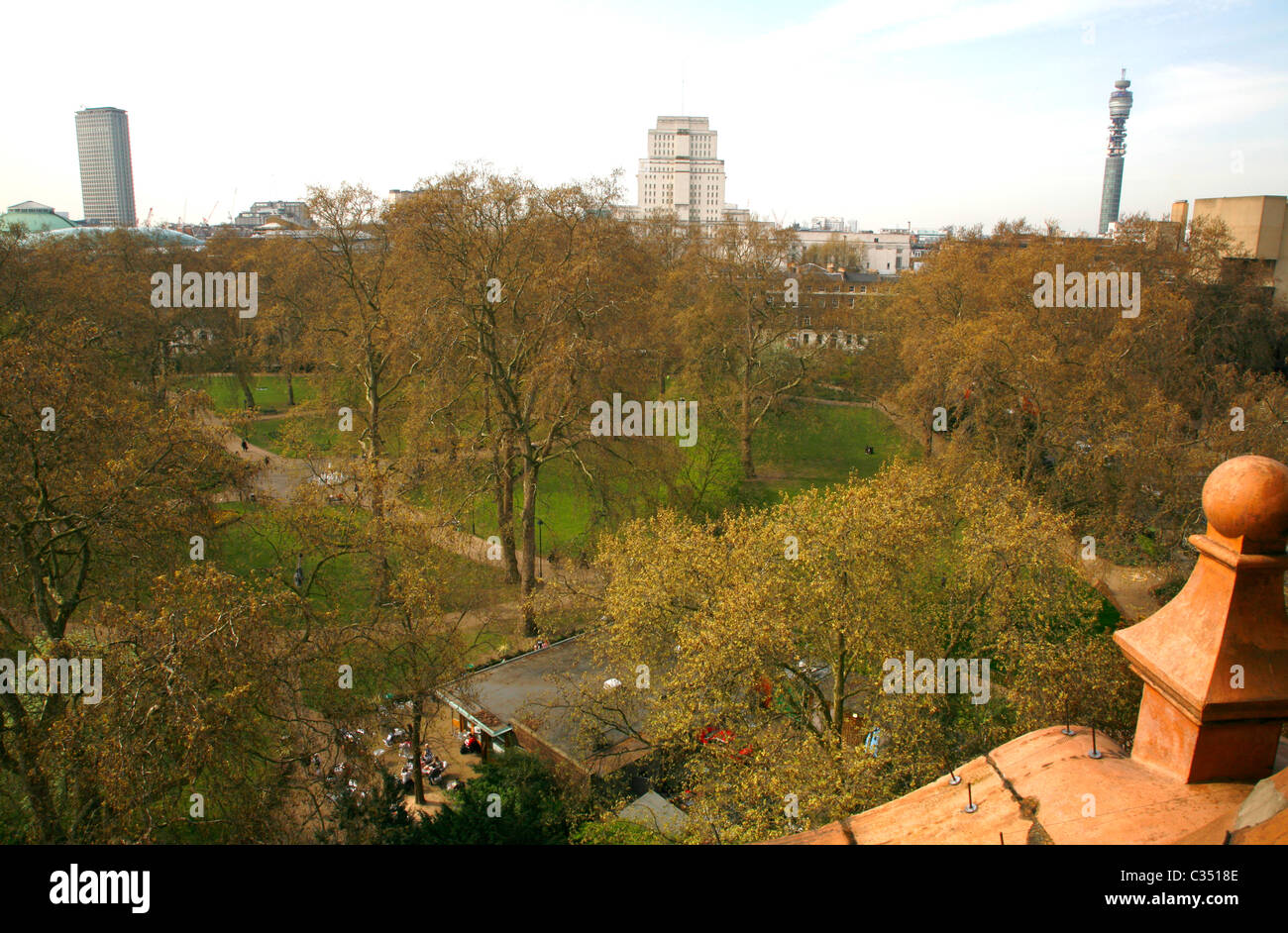 Rooftop view from Hotel Russell of Russell Square, Centre Point, Senate House and Telecom Tower, Bloomsbury, London, Stock Photo