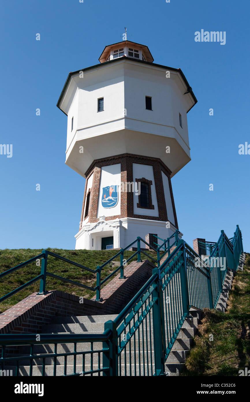 Built in 1909, is the Langeoog's water tower the landmark of the German East Frisian Island Langeoog. Stock Photo