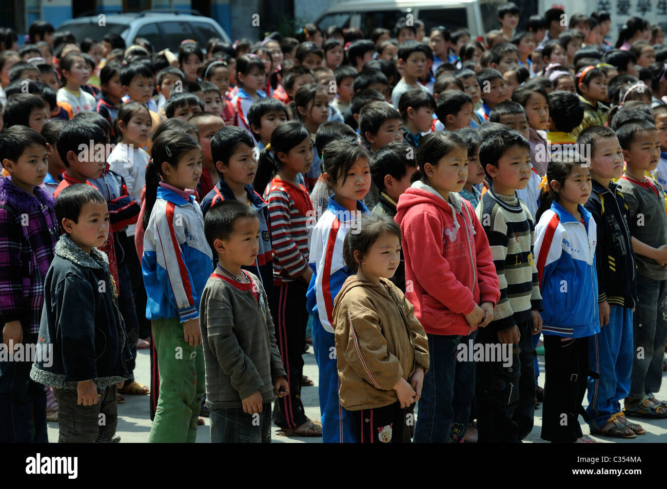 Chinese primary school students in remote countryside in Duan county,  Guangxi, China. 19-Apr-2011 - Stock Image