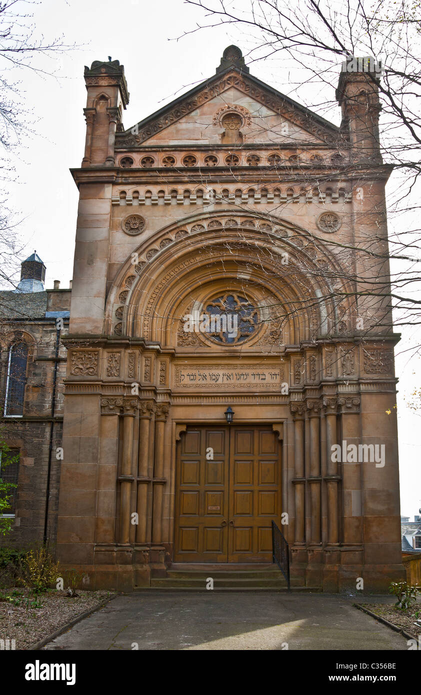 Main entrance to Garnethill Synagogue in central Glasgow. The first purpose-built shul in Scotland, opened in 1879. - Stock Image