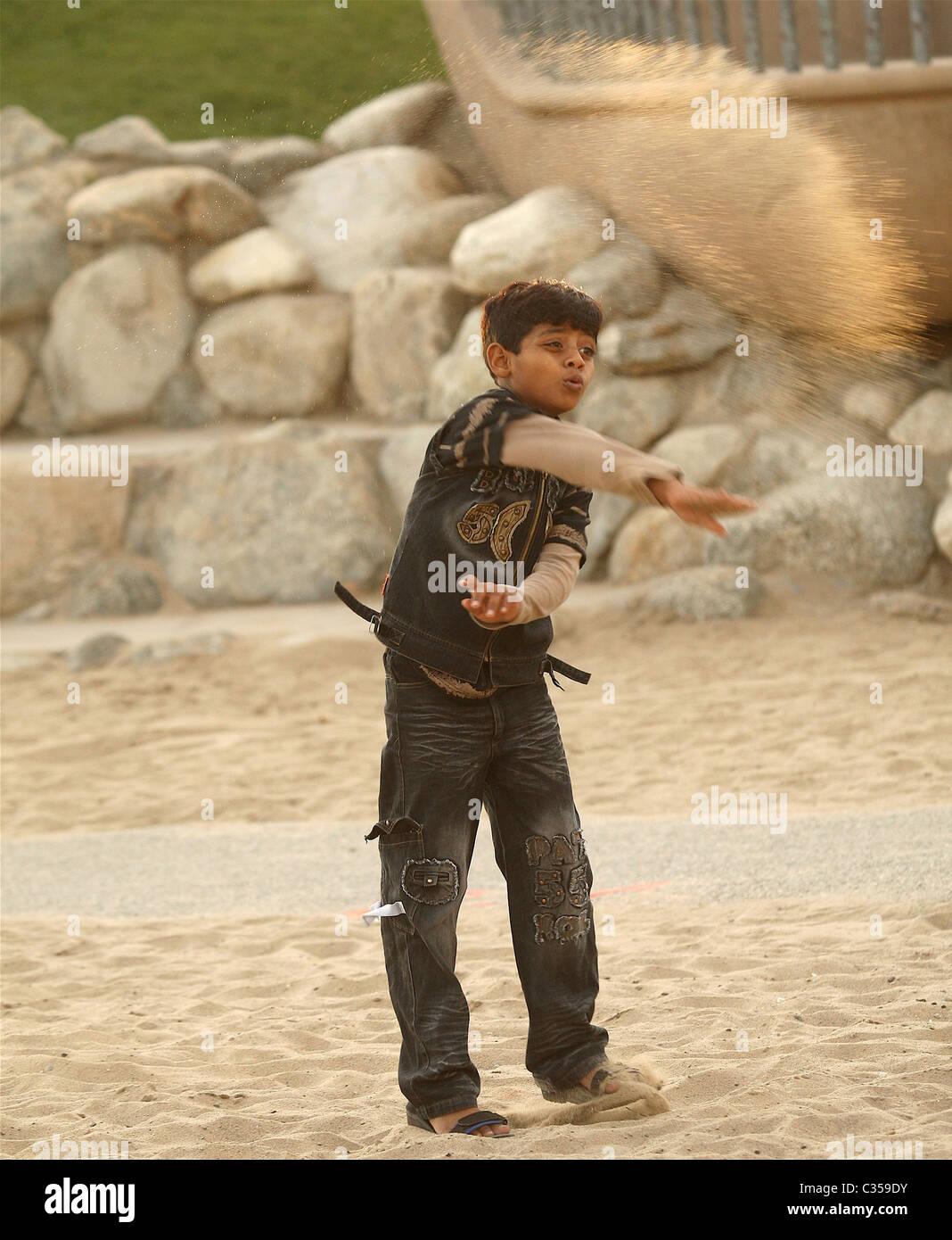 Azharuddin Mohammed Ismail Director and cast of 'Slumdog Millionaire' visit Santa Monica Pier Los Angles, California - 24.02.09 Stock Photo