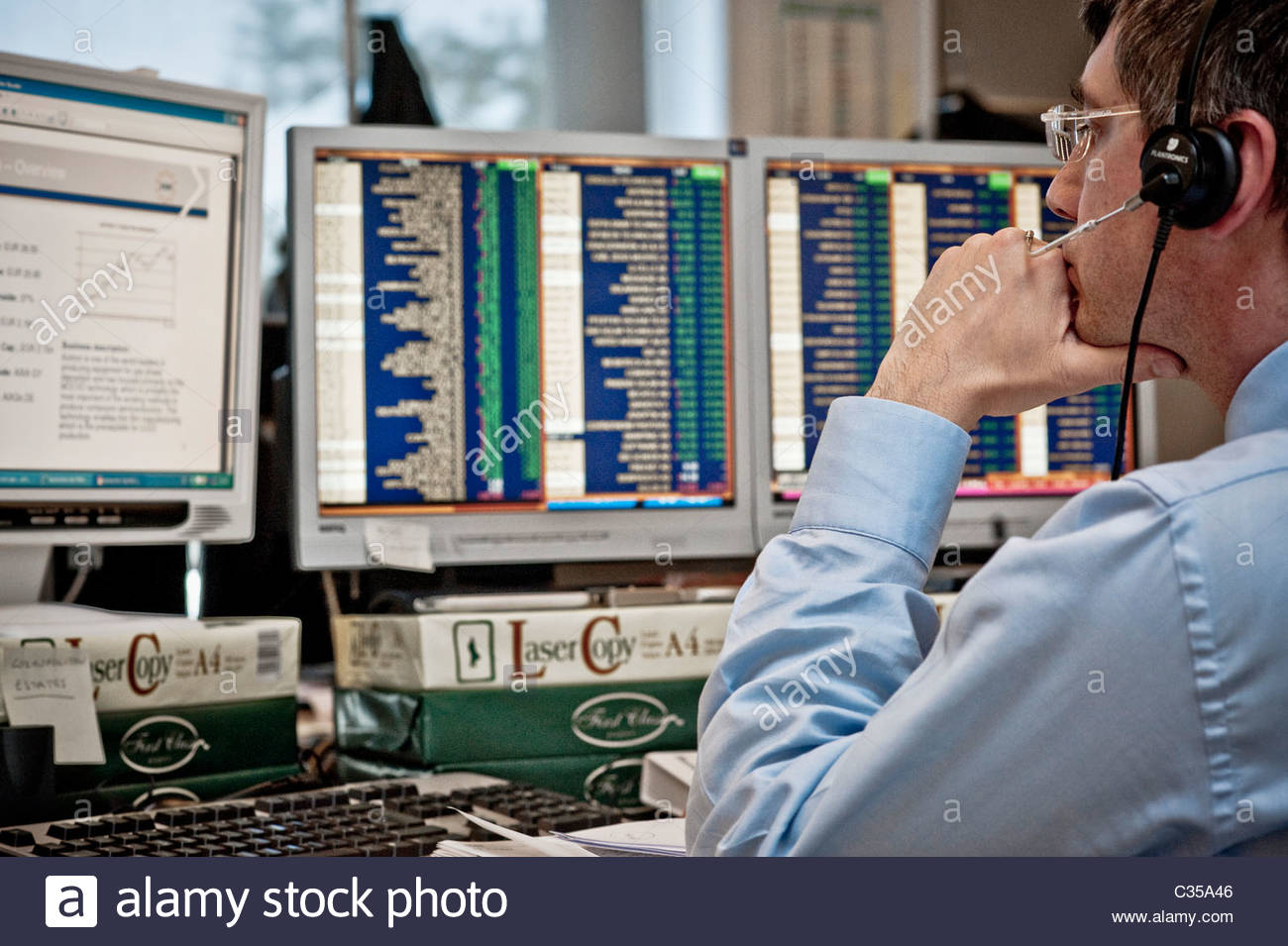 bonds and securities trading floor of the akros bank in milan,italy - Stock Image