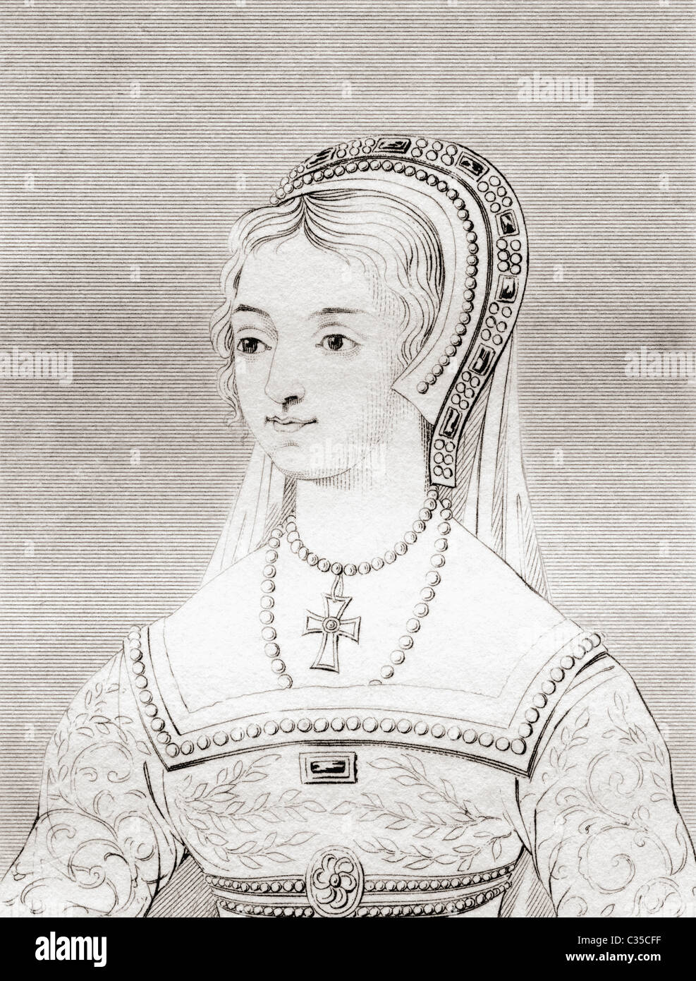 Catherine Parr, 1512 - 1548. Sixth wife and Queen consort of King Henry VIII of England. - Stock Image