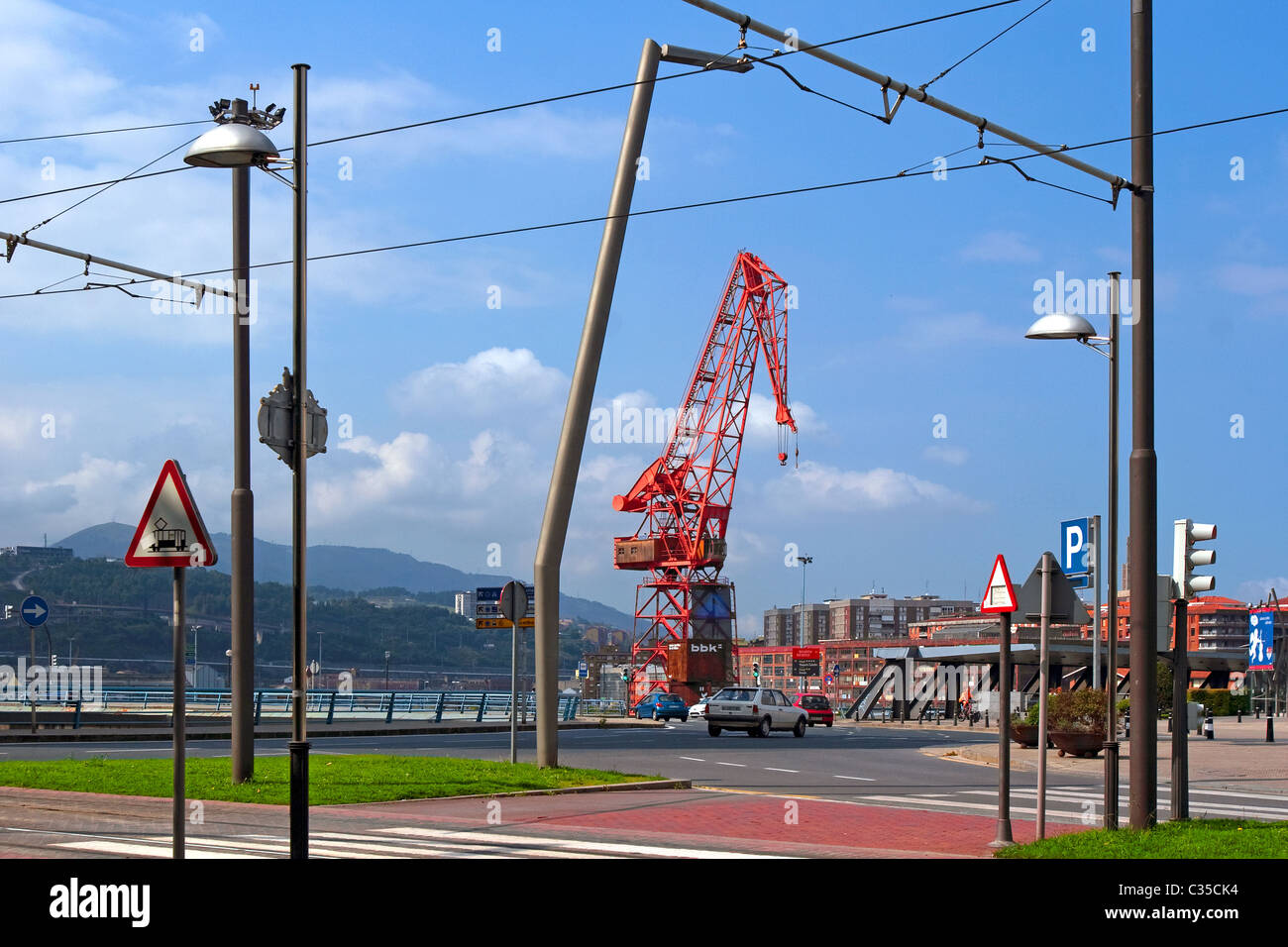 Crane in the estuary of Bilbao, Vizcaya, Basque Country. Stock Photo