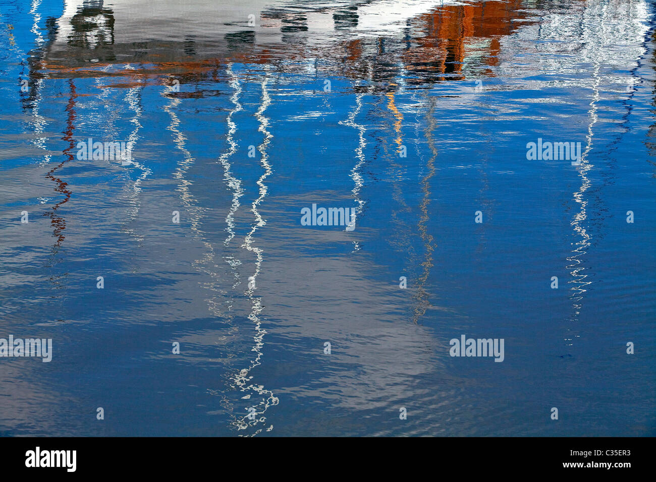 Reflections in the water. Puerto Madero, Buenos Aires, Argentina. Stock Photo