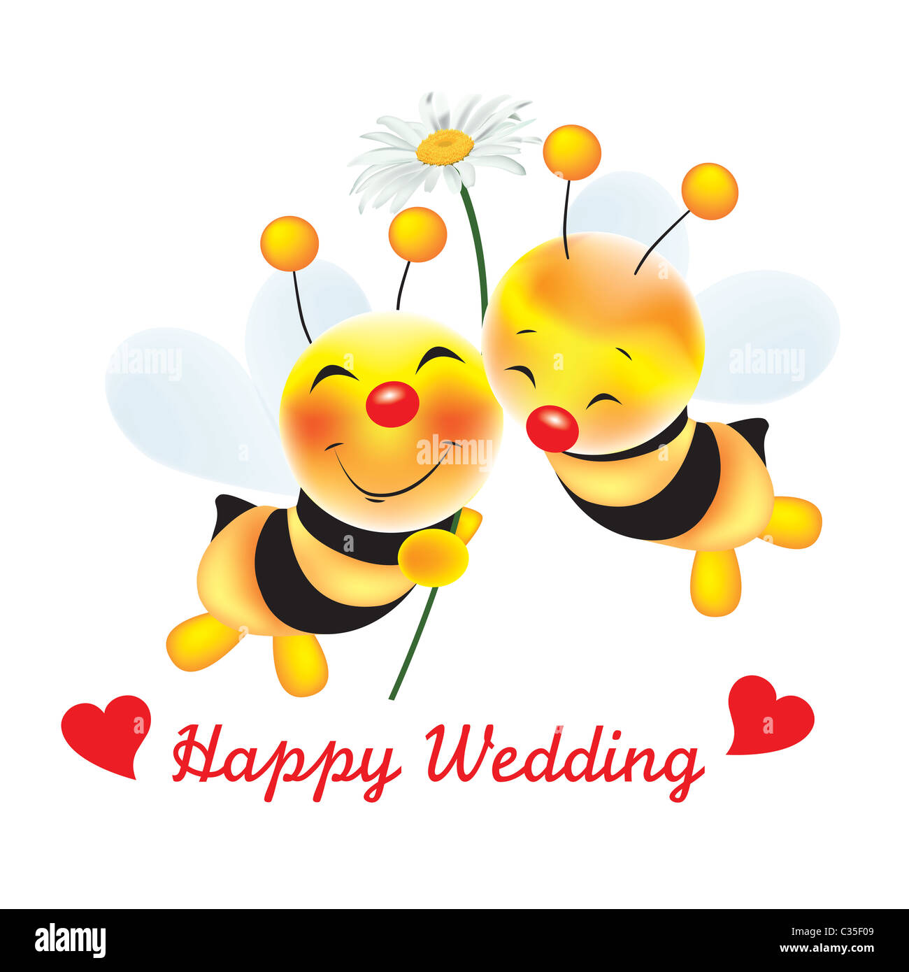 """Two cute bees in love with daisy flower and text """"Happy Wedding"""