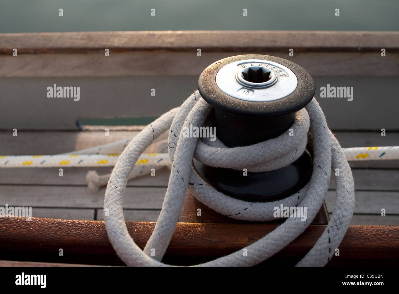 Sailing Boat Yacht Winch and Sheet Rope - Stock Image