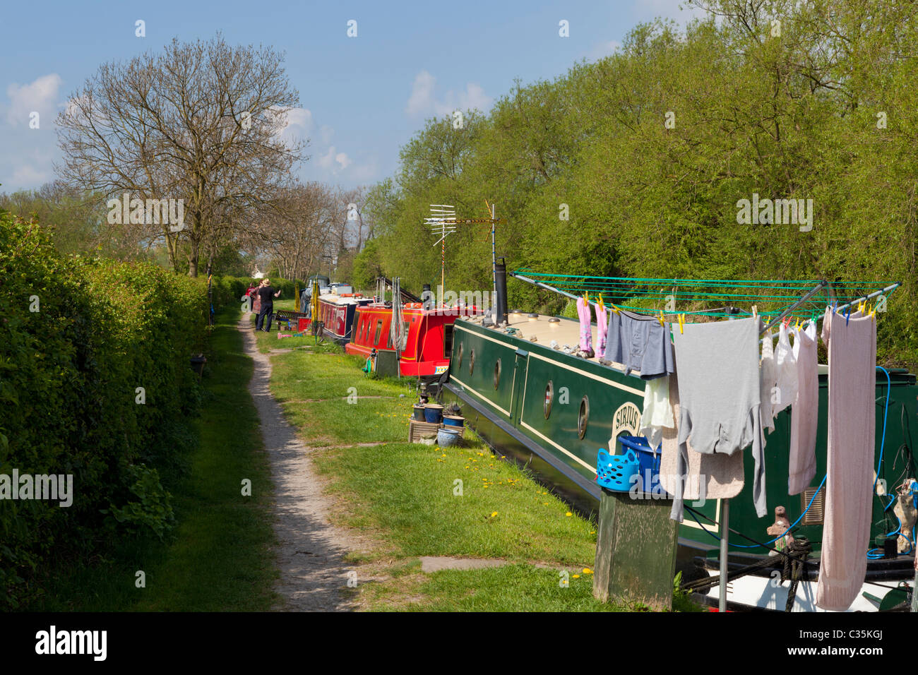 Narrowboats moored on the Trent and Mersey canal near Shardlow Derbyshire England GB UK EU Europe - Stock Image