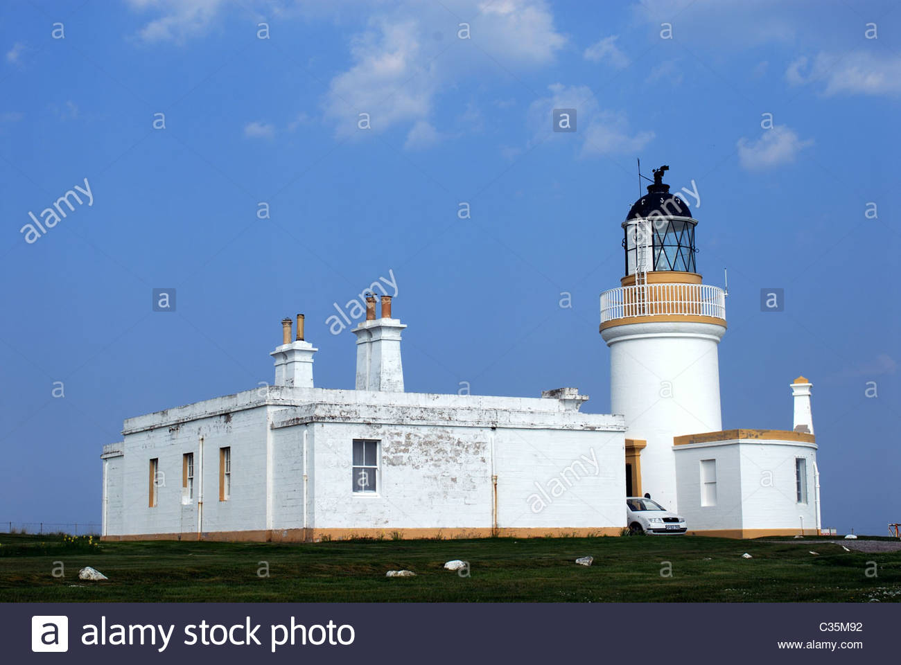 Fortrose Black Isle, Ross and Cromarty, Scotland, UK Lighthouse at Chanonry Point. - Stock Image