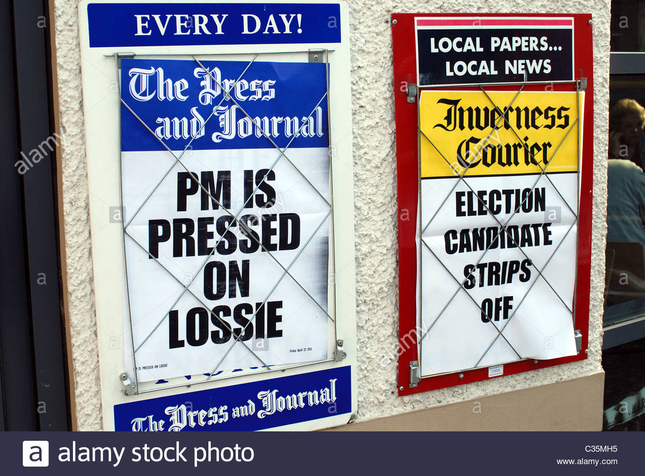 Inverness UK News headlines from 'The Press and Journal' and the 'Inverness Courier.' - Stock Image