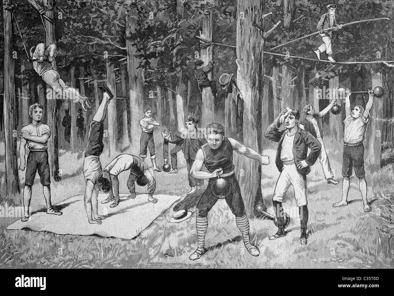 Training area of prospective artists in the Hasenheide park, near Berlin, Germany, historical picture, about 1893 - Stock Image