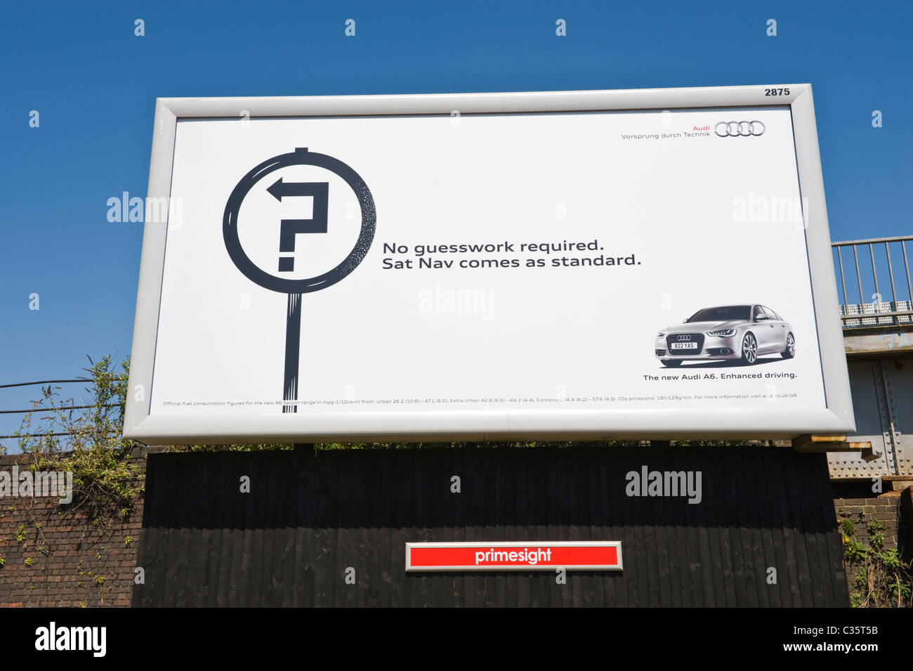 Advertising billboard on PRIMESIGHT site advert for AUDI A6 with Sat Nav - Stock Image