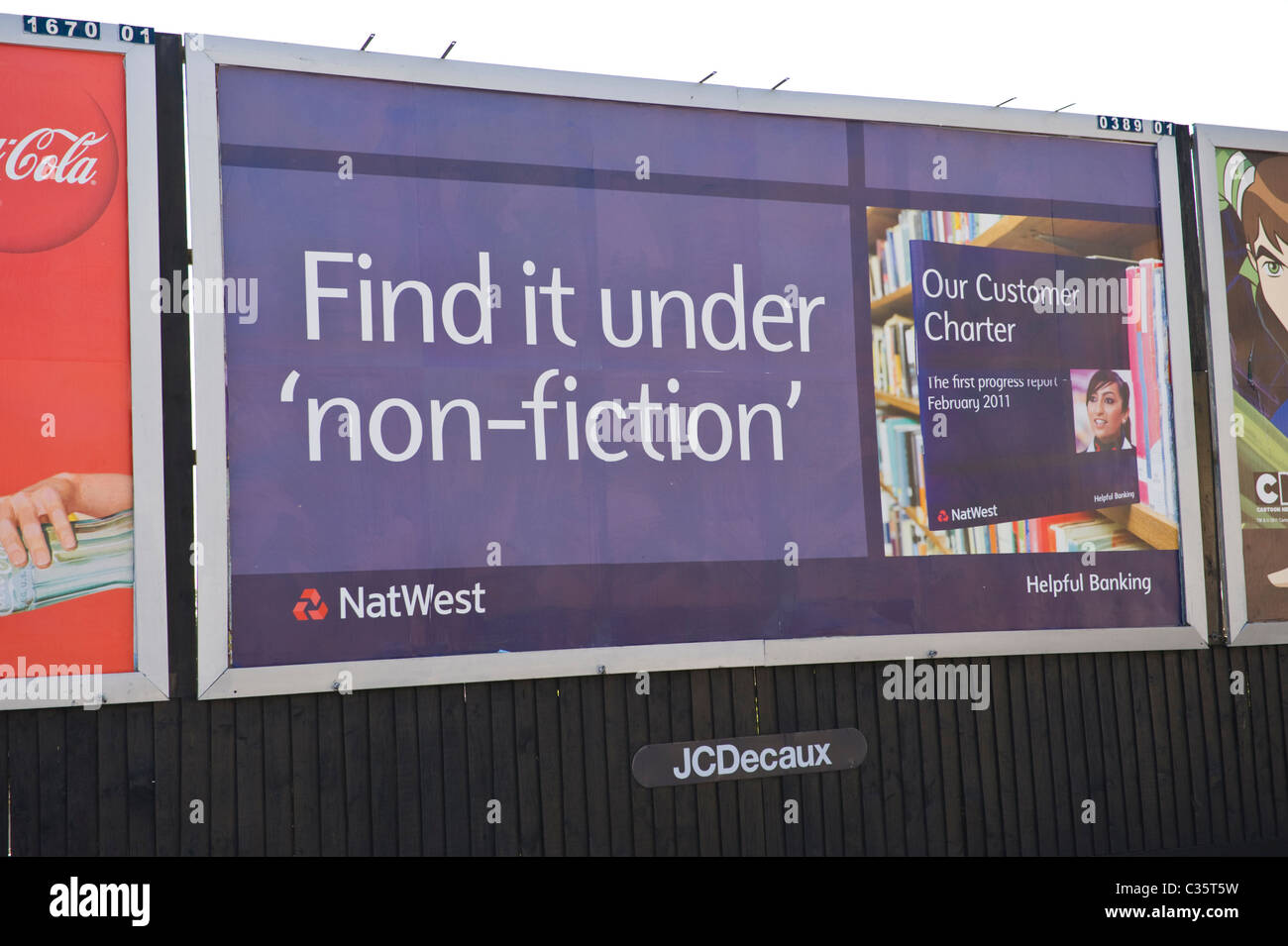 Advertising billboard on JCDECAUX roadside site advert for NATWEST BANK - Stock Image