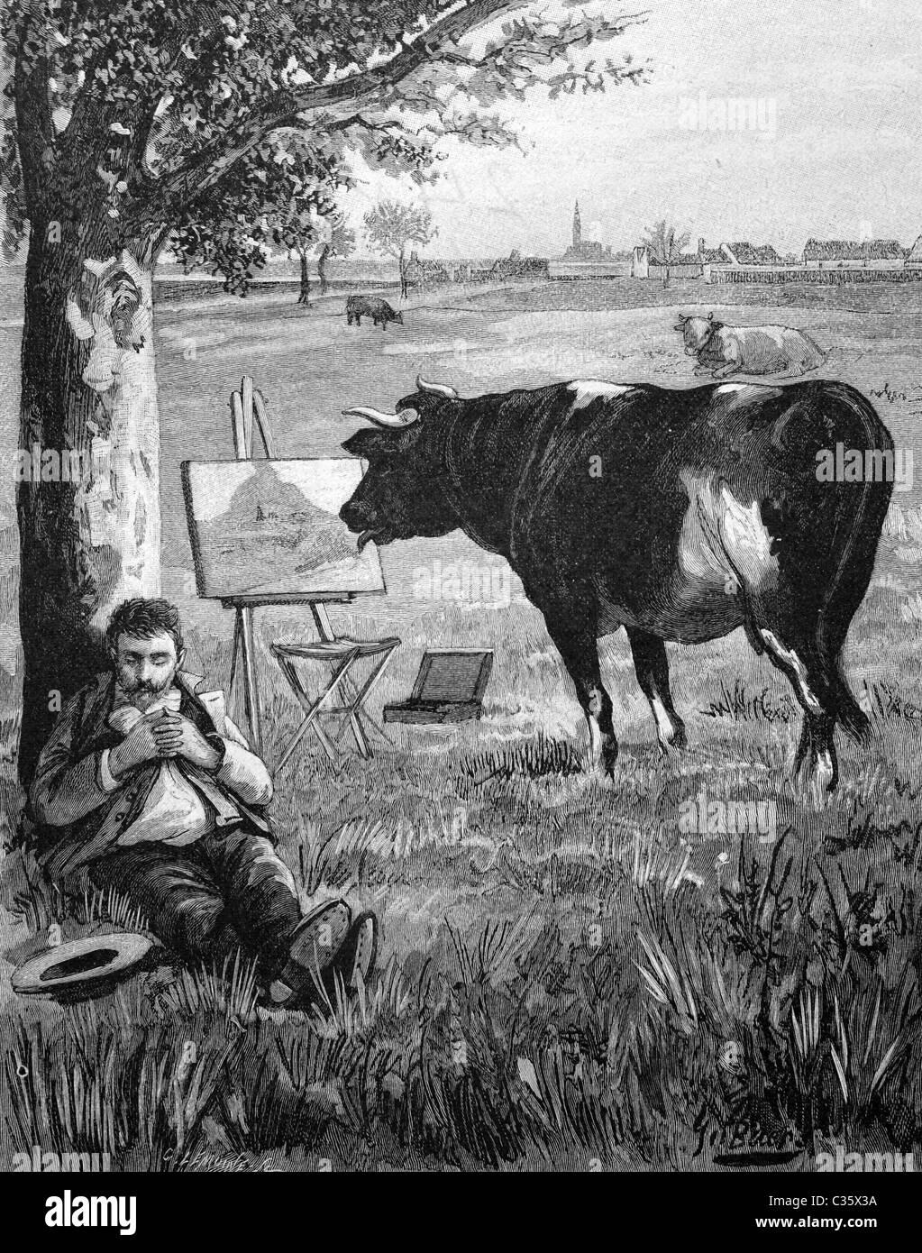 Cow licking a painting while the painter is sleeping, historical picture, about 1893 - Stock Image