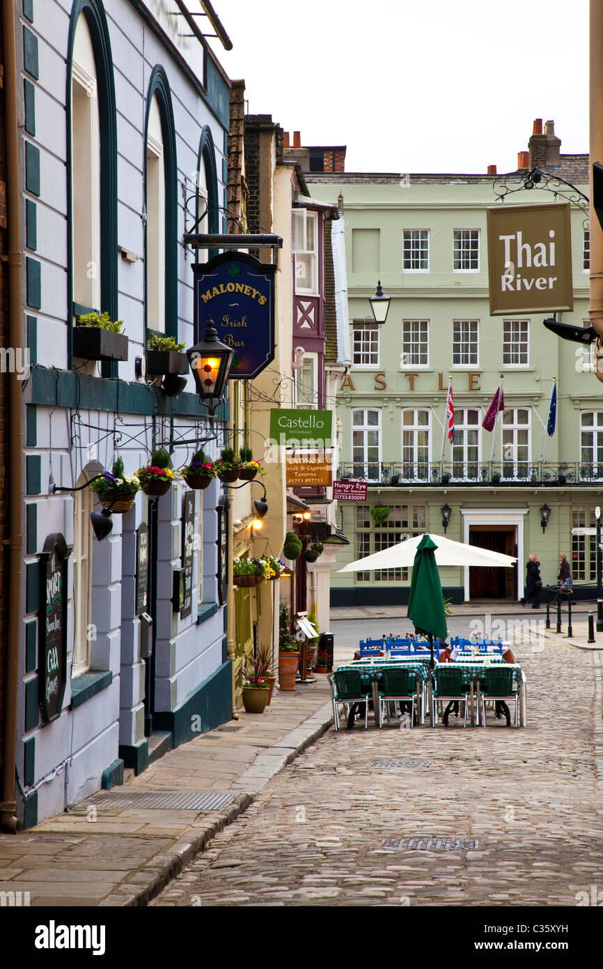 Church Lane, a small cobbled street of bars,cafes and restaurants in Windsor, Berkshire, England, UK - Stock Image