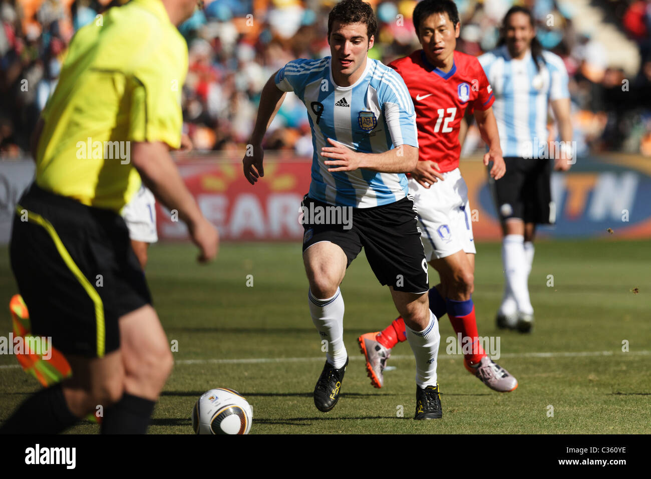Gonzalo Higuain of Argentina chases the ball during a FIFA World Cup football match against South Korea June 17, - Stock Image