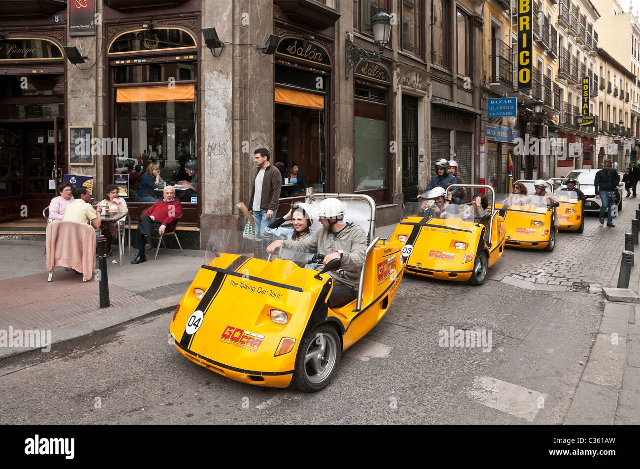 The talking car tour. Self drive, GPS guided tours around Madrid, Spain. Stock Photo