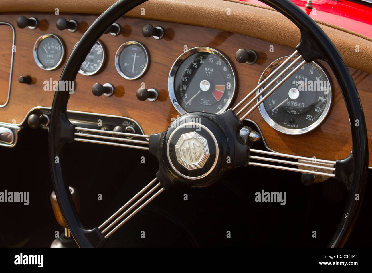 mga wooden dashboard instruments and steering wheel stock photo 36399053 alamy. Black Bedroom Furniture Sets. Home Design Ideas