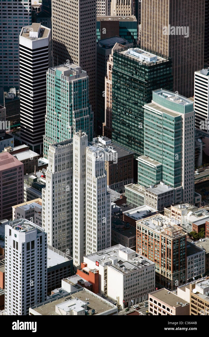 Aerial View Above Skyscrapers San Francisco California Including 140 New Montgomery Street 595 Market