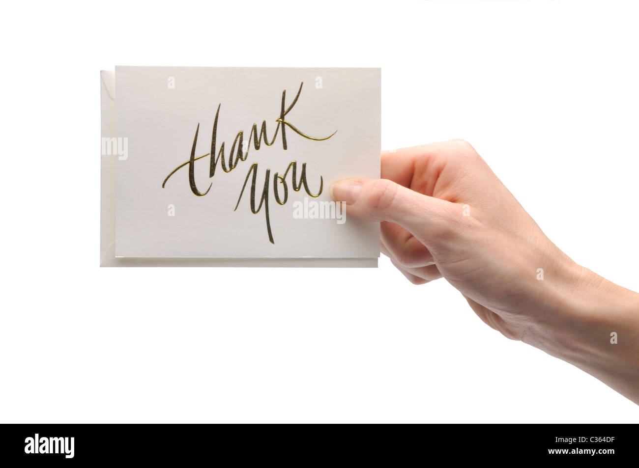 hand holding note card - Stock Image
