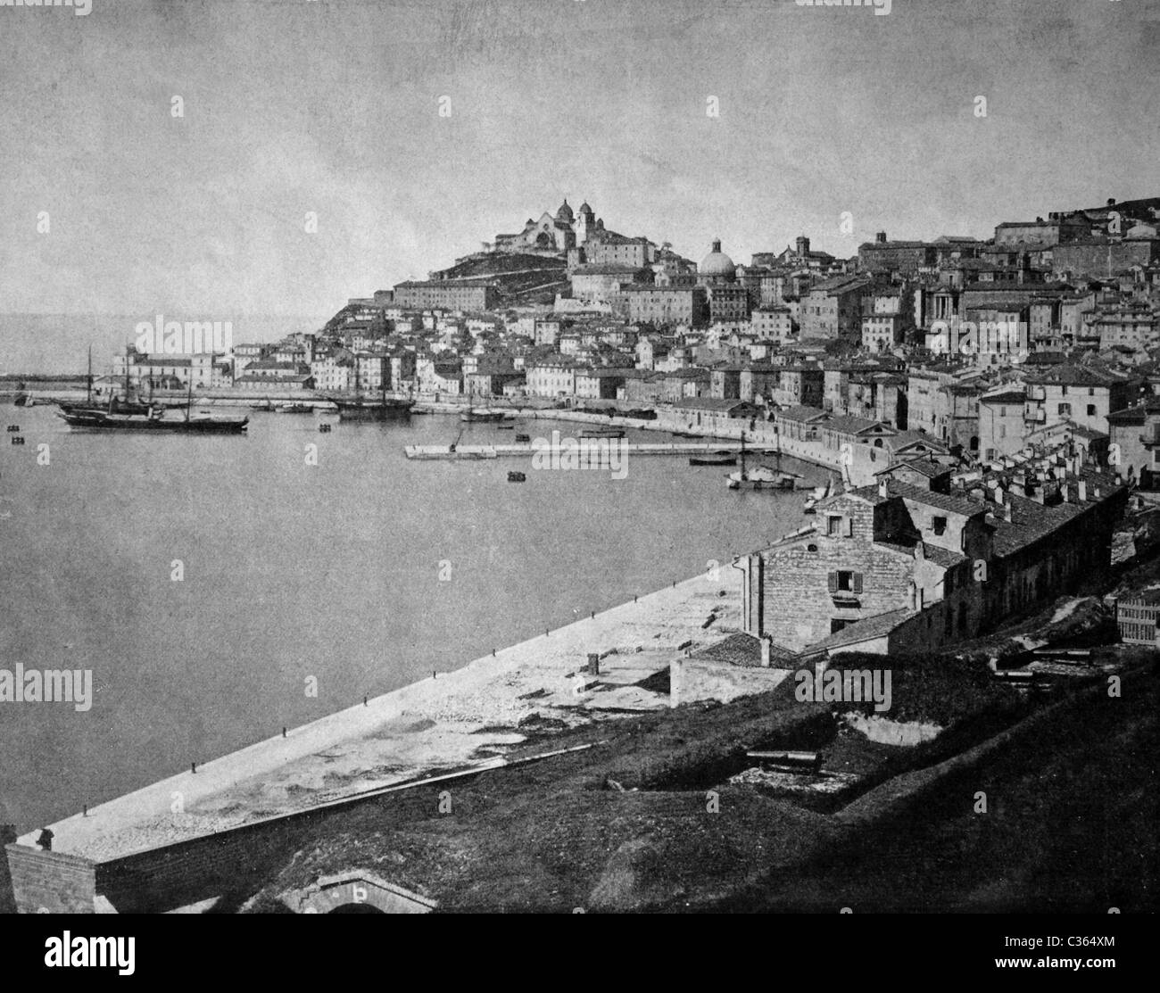 One of the first autotypes of Ancona, Italy, historical photograph, 1884 - Stock Image