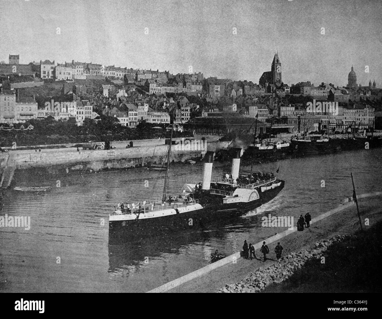 One of the first autotypes of Boulogne-sur-mer, France, historical photograph, 1884 - Stock Image