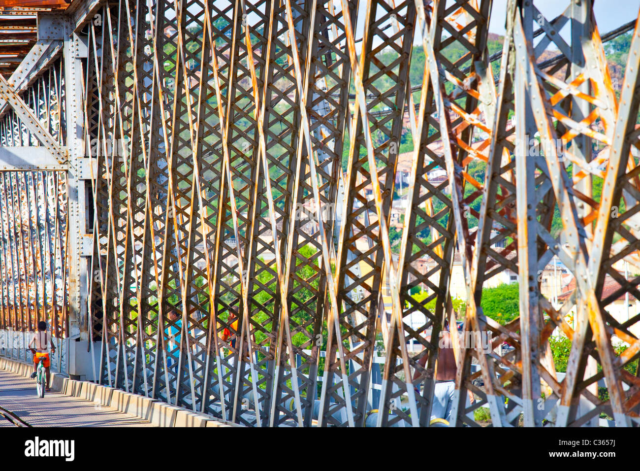 Railway bridge between Sao Felix and Cachoeira, near Salvador, Brazil - Stock Image