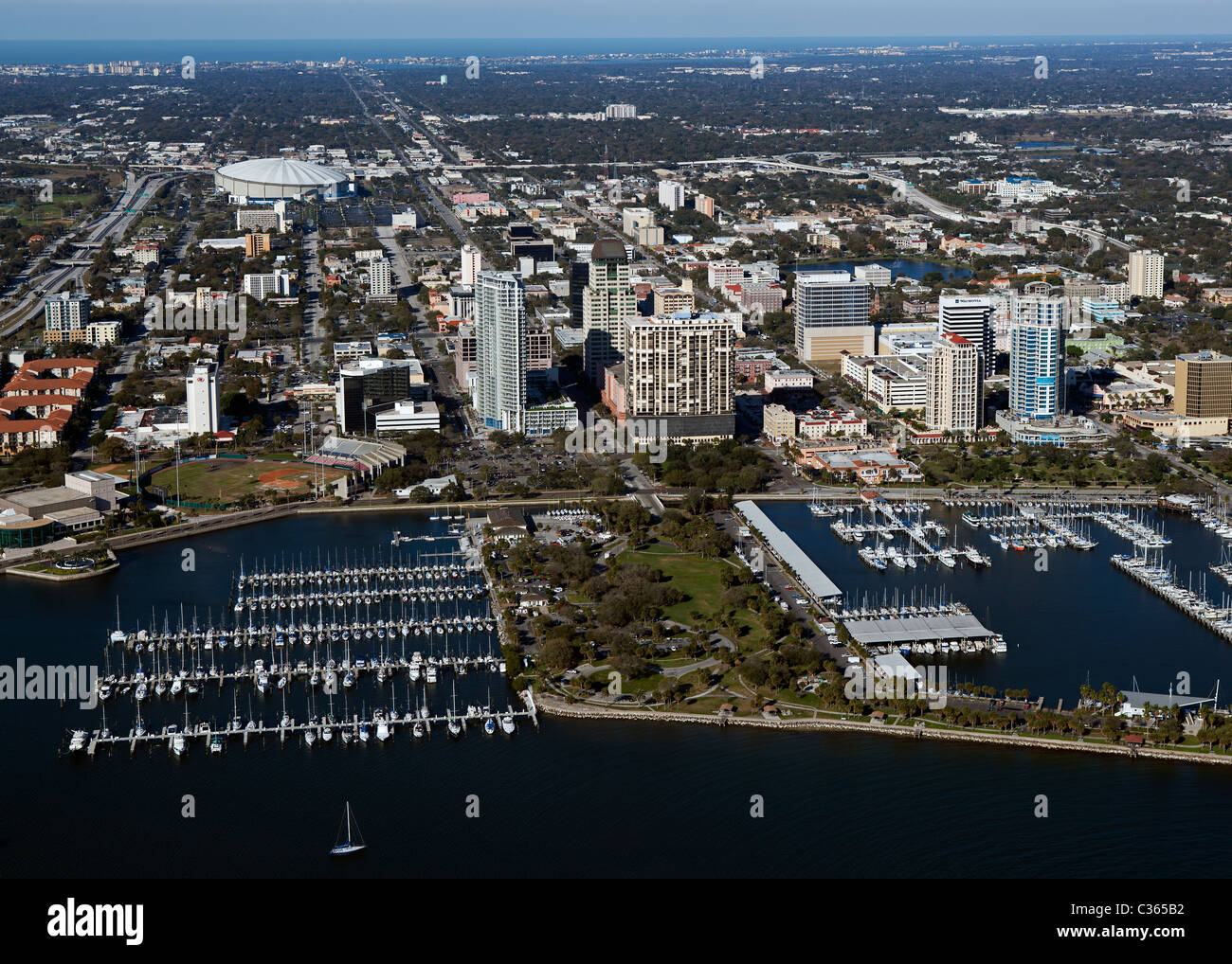 aerial view above St. Petersburg Florida - Stock Image