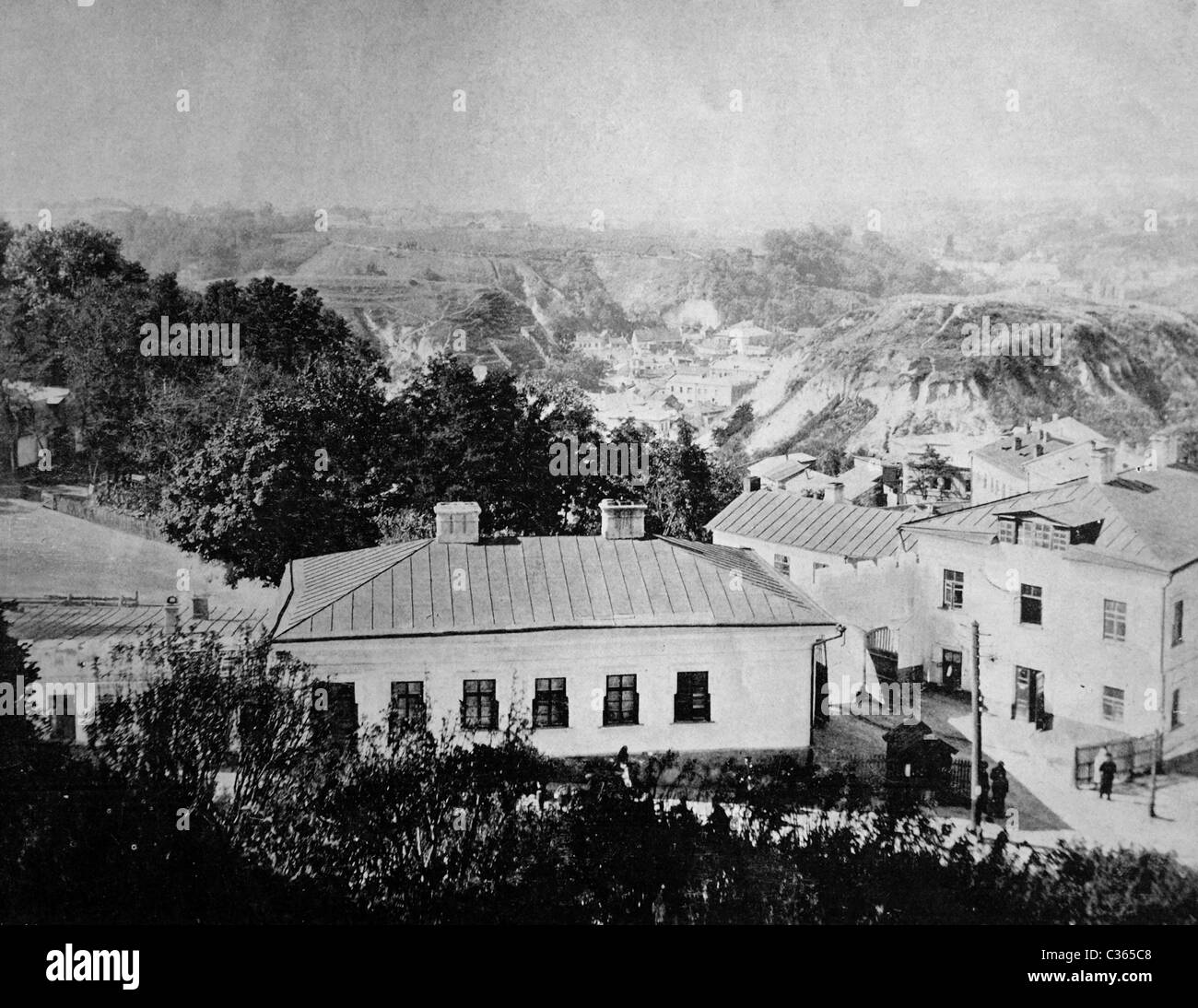 Early autotype of the mont San Andre at Kiev, Ukraine, 1884 - Stock Image