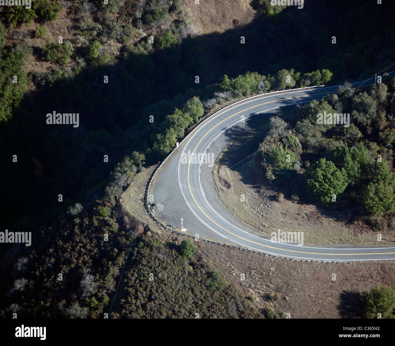 aerial view above steep turn Hopland grade route 175 Mendocino county California - Stock Image