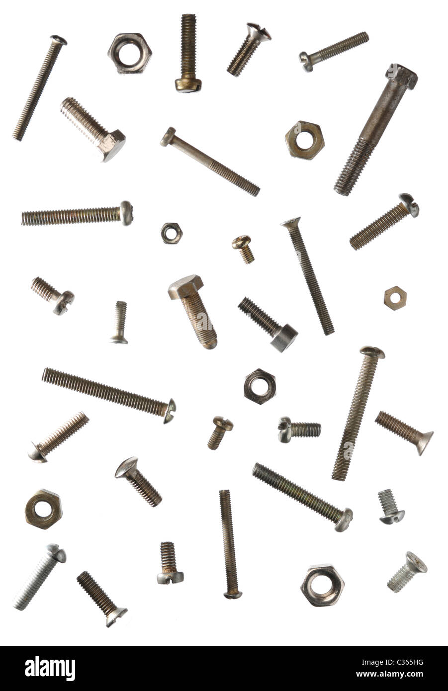 Abstract artistic background of assorted screws bolts and nuts isolated on white Stock Photo