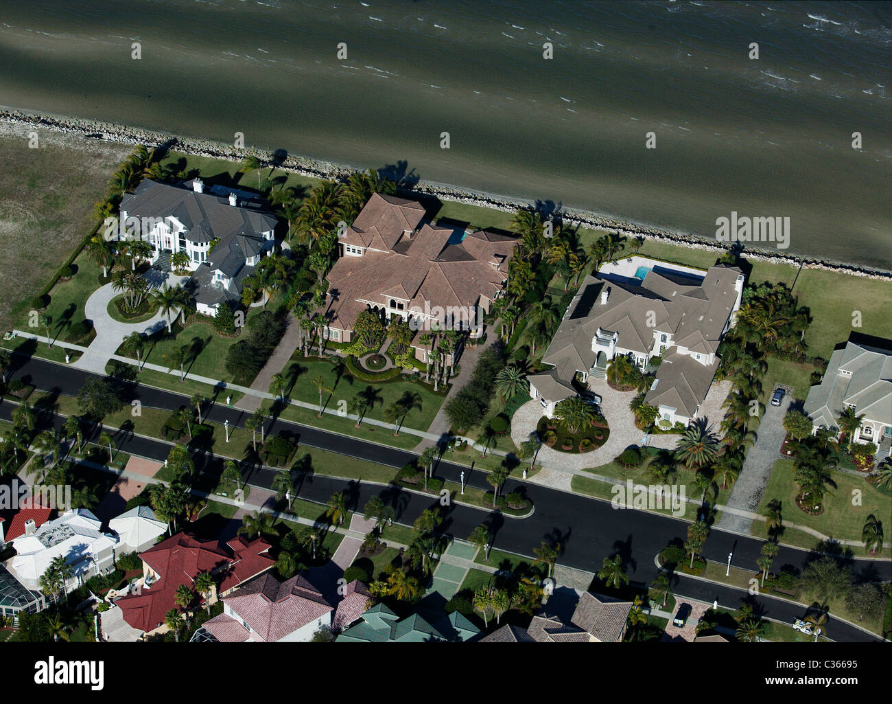 aerial view above waterfront homes Tampa Bay Florida - Stock Image