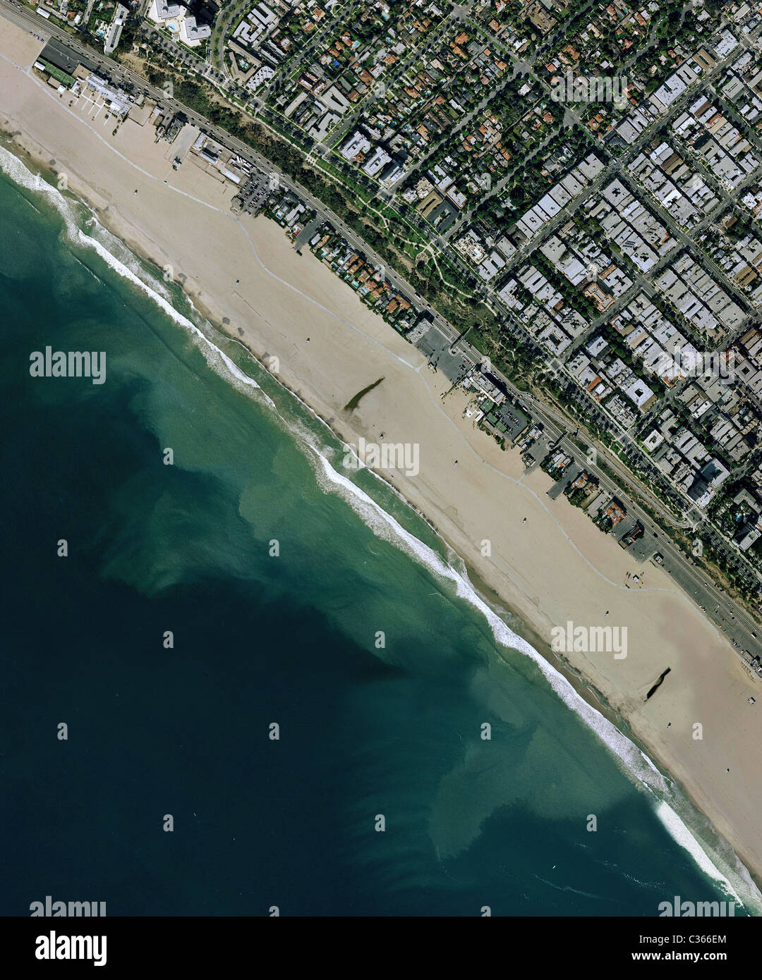 aerial map view Santa Monica beach California Stock Photo ...