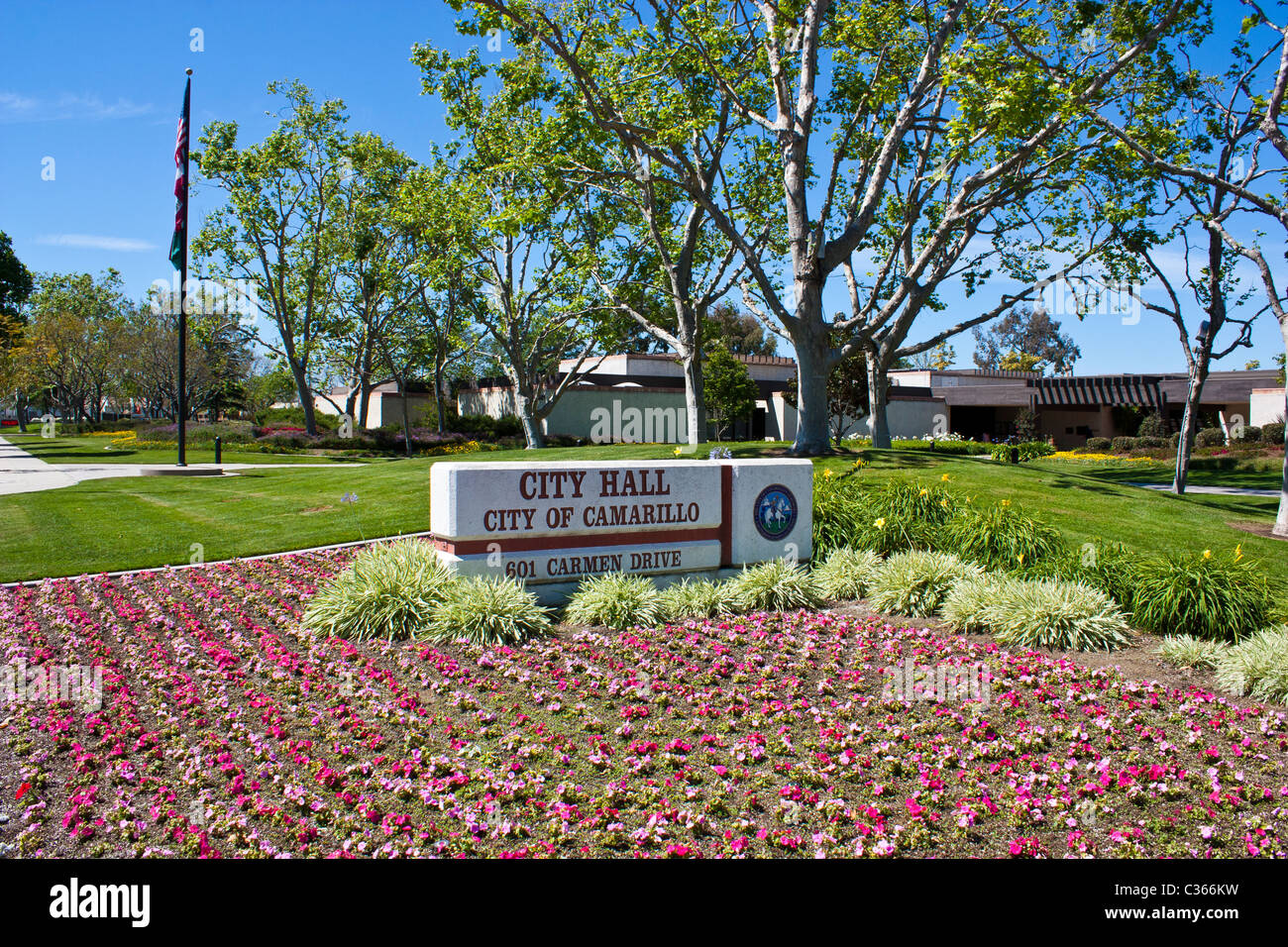 Camarillo Californias City Hall With Fresh New Flowers In The Stock