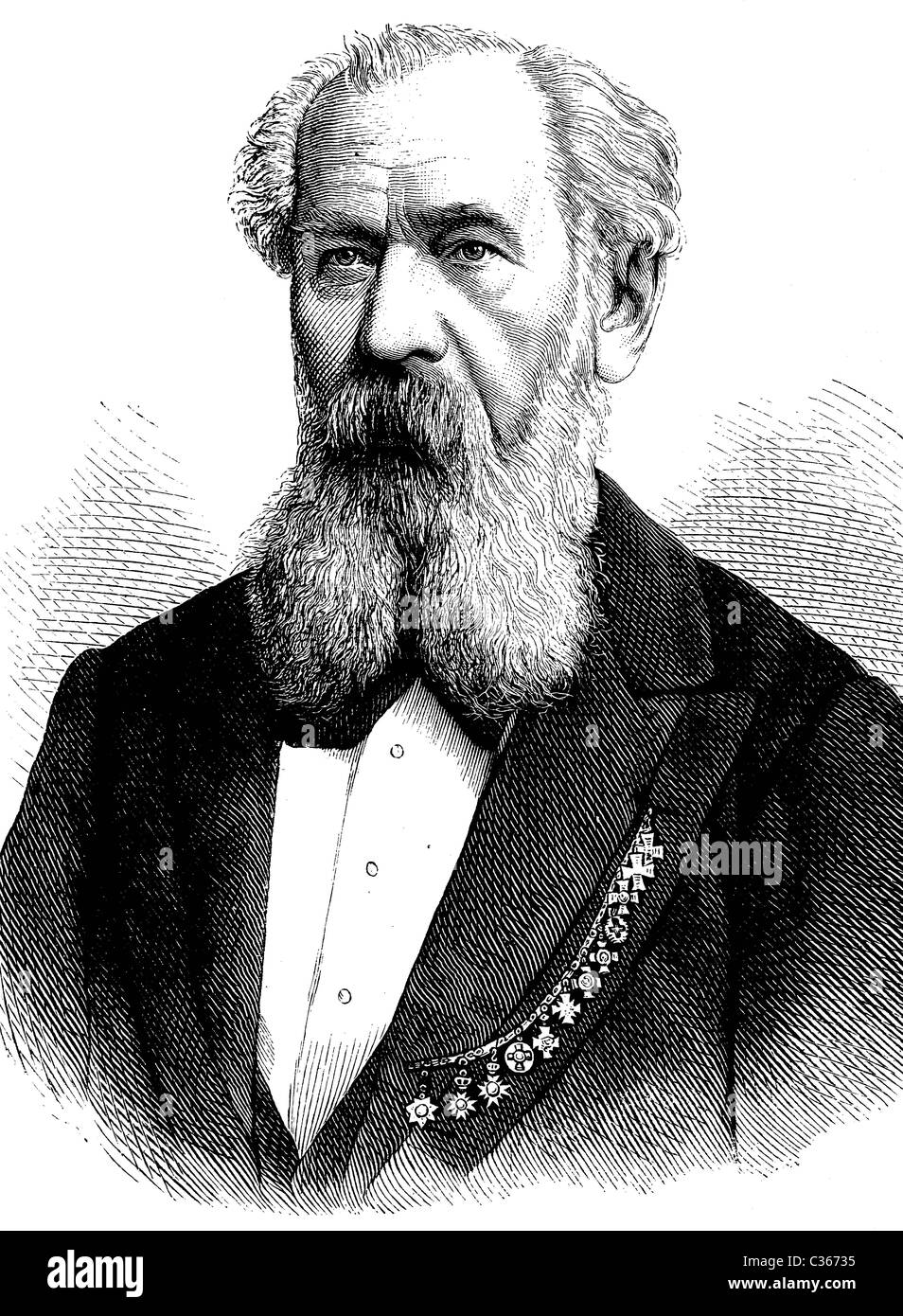 Benjamin Bilse, 1816-1902, German composer and conductor, historical illustration, circa 1886 - Stock Image